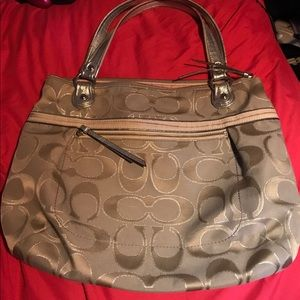 Coach Poppy Metallic Silver Tote